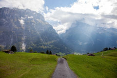 Bergspitzen, Ströme und Wiesen in Grindelwald, die Schweiz Stockfotos