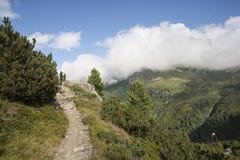 Bergspoor in de Oostenrijkse Alpen Stock Foto's