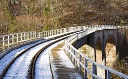 bergspoorweg die een brug kruisen Royalty-vrije Stock Foto's