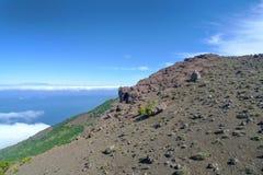 Bergssida i det västra av El Hierro Royaltyfri Fotografi