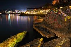Bergstad på natten Black Sea Fotografering för Bildbyråer