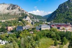 Bergstadlandskap och infrastruktur Arkivbild