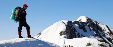 Bergsteigenpanorama Stockfoto