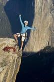 Bergsteiger auf dem Gipfel. Stockbild