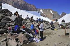 Bergsteiger auf dem Mount Rainier, Washington Lizenzfreies Stockfoto