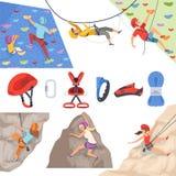 Bergsteiger Bergsteigerausrüstung für extreme Sport rockie Hügel erforscht Sturzhelmseil carabiner für Bergsteiger vektor abbildung
