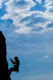 Bergsteiger in der rückseitigen Leuchte Lizenzfreie Stockfotos