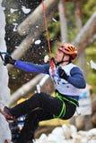 Bergsteiger fallende Drehzahl-Konkurrenz IWC-Busteni Stockbilder