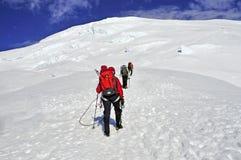 Bergsteiger hoch auf dem Mount Rainier Lizenzfreie Stockfotos