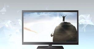 Bergsteiger im Fernsehen Lizenzfreie Stockbilder