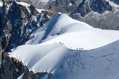 Bergsteiger in Mont Blanc Lizenzfreies Stockbild