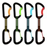 Bergsteiger quickdraws 4 Farben stock abbildung