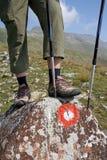 Bergsteiger steht auf dem Felsen Stockbilder
