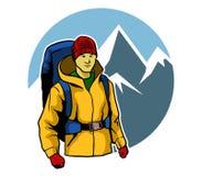 Bergsteiger-und Eis-Berg stock abbildung