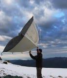 Bergsteiger und Zelt Stockbilder