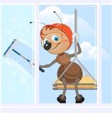 Bergsteiger wäscht Fenster Ant Industrial-Bergsteiger bei der Arbeit Stockfotografie