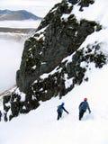 Bergsteigerabstieg Stockbild
