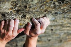 Bergsteigerhand Stockfoto