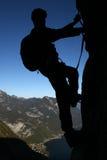 Bergsteigerschattenbild Lizenzfreies Stockfoto
