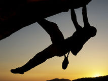 Bergsteigerschattenbild Lizenzfreie Stockfotos