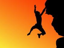 Bergsteigerschattenbild Stockbild