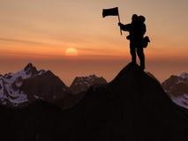 Bergsteigerschattenbild und -berg Lizenzfreies Stockfoto