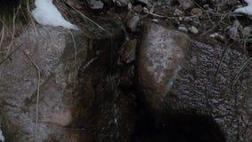 Bergstroom in het hout met waterval en sneeuw stock video