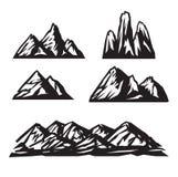 Bergsymbolsuppsättning på vit bakgrund vektor Arkivfoto