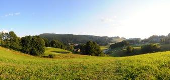 BergTatra landskap med den gröna skogen, blåttmoln och ängen Royaltyfria Bilder