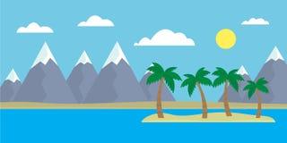 Bergtecknad filmsikt av en ö i havet med kullar, träd royaltyfri illustrationer