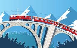 Bergtrein op de brug door de Alpen stock illustratie