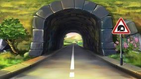 Bergtunnel stock illustratie