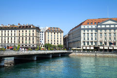The Bergues quay on bank of Rhone river in Geneve Royalty Free Stock Photography