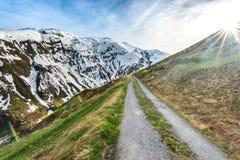Bergväg i schweiziska fjällängar Royaltyfria Foton