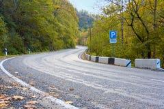 Bergväg med hårnålvänd Royaltyfria Foton