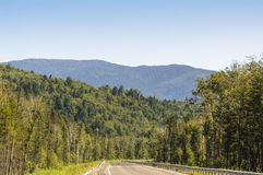 Bergväg på långt - den östliga taigaen Arkivfoton
