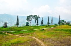 Bergvägen med sörjer lock och gräslandskap arkivbilder