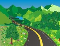 bergvägsommar vektor illustrationer