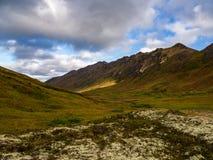 Bergvallei en Autumn Tundra, Alaska stock foto's