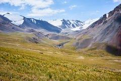 Bergvallei op het gebied van de Alai-Waaier Stock Foto's