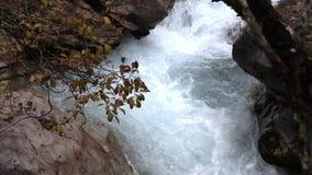 Bergvattenfall i bavaria, långsam moution arkivfilmer