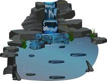 Bergvattenfallet stiger ned från en klippa in i en sjö med blått vatten royaltyfri illustrationer