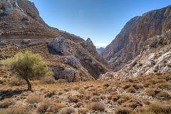 Bergweg die ruwe rotsachtige klippen overgaan stock foto