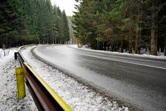 Bergweg door bos Royalty-vrije Stock Foto's