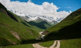 Bergweg door groen weiland. Stock Foto's