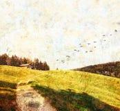 Bergweiland met hut, texturitextuur Stock Fotografie