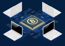 Bergwerksausrüstung Bitcoin Digital Bitcoin Goldene Münze mit Bitcoin-Symbol in der elektronischen Umwelt Flaches 3d isometry Stockbilder