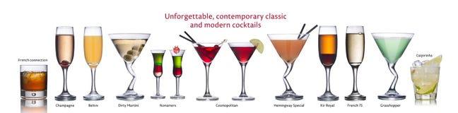 Berühmte internationale Cocktails Stockfotografie