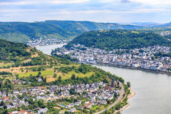 Berühmtes populäres Wein-Dorf von Boppard beim Rhein Stockfotografie