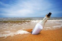 Bericht in de fles Stock Foto's